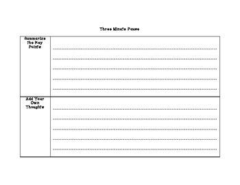 Three Minute Pause-Graphic Organizer