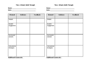 Three Minute Walk Through Feedback Form By Teaching With