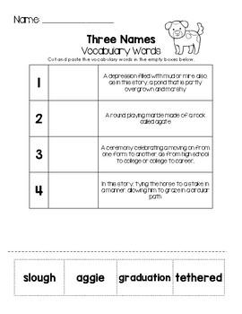 Three Names - Vocabulary Words