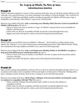 othello essay questions rubric by eb academic camps by caitlin  othello essay questions rubric