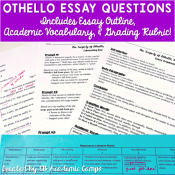 Thesis For An Essay Othello Essay Questions  Rubric Into The Wild Essay Thesis also Thesis Generator For Essay Othello Essay Questions  Rubric By Eb Academics By Caitlin And Jessica English Argument Essay Topics