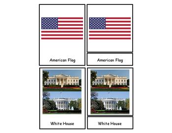 Three Part Cards United States Symbols