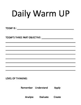 Three Part Objective Daily Warm Up
