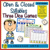 Three Phonics Closed & Open Syllables Dice Games