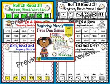 Three Phonics Dice Games:  Set 1 Bundle
