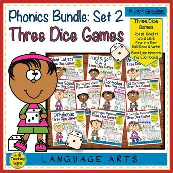 Three Phonics Dice Games:  Set 2 Bundle