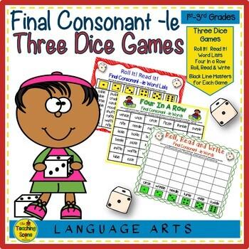 Three Phonics Final Consonant -le Dice Games