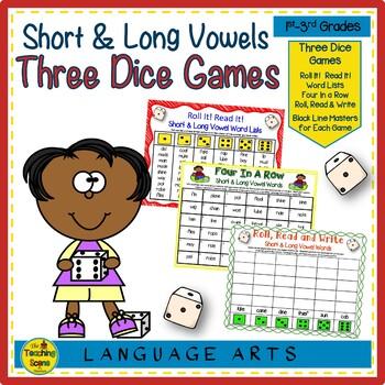 Three Phonics Mixed Short & Long Vowel Sounds Dice Games