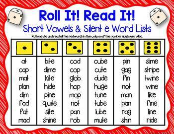 Three Phonics Mixed Short Vowels & Silent e Sounds Dice Games