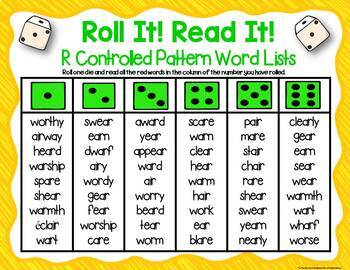 Three Phonics R Controlled Patterns Dice Games