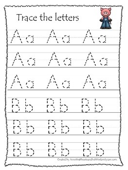 Three Pigs themed A-Z tracing preschool educational worksheets. Daycare alphabet