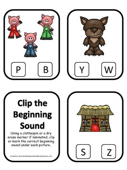 Three Pigs themed Beginning Sounds Clip it Cards preschool curriculum game.