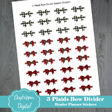 Three Plaids Bow Divider Header Stickers for Planners
