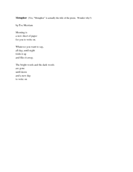Three Poems and a Graphic Organizer