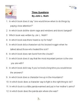 Three Questions by John L. Muth, Battle of the Books Questions
