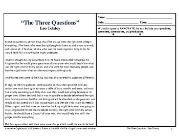 """The Three Questions"" by Leo Tolstoy: Annotation Organizer"