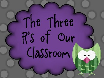 Three R's of the Classroom Poster- Owl Theme