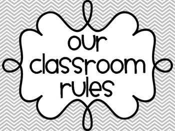 Three Simple Classroom Rules - Gray Chevron