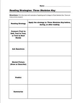 Three Skeleton Key: Reading Strategies Application and Comprehension Questions