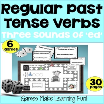 "Regular Past Tense Verbs - 3 Sounds of ""ed"" - Grammar Games - copy, cut and go!"