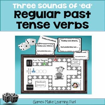 """Regular Past Tense Verbs - 3 Sounds of """"ed"""" - Grammar Games - copy, cut and go!"""