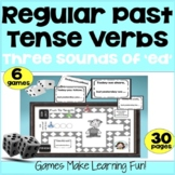 "Regular Past Tense Verbs - 3 Sounds of ""ed"" - Grammar Games - cut and go!"