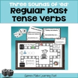 "Regular Past Tense Verbs - 3 Sounds of ""ed"" - Grammar Games - cut and go!"