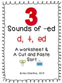 Three Sounds of -ed {d/t/ed} Worksheet & Cut and Paste Sort