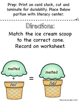 Three Sounds of the Suffix -ed ( /id/ /d/ /t/ ) Ice Cream Stack & Sort