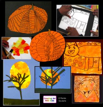 Art Lesson Bundle Halloween Three Spooktacular Activities