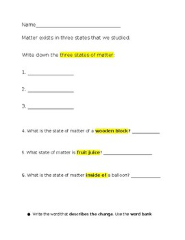 Three States of Matter Science Test