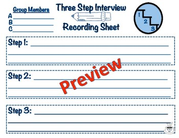 Three Step Interview Graphic Organizer