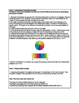 Three Step Lesson Plan - Finding the Area of a Circle