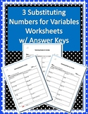 Three Substituting Numbers for Variables Worksheets w/ Ans