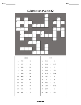 Three Subtraction Crossword Puzzles WITH Answer Keys
