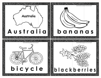 Three Syllable Word Cards for Puzzles in Color and BW