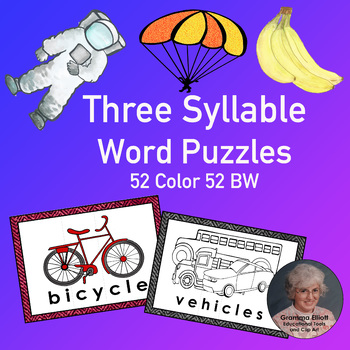 Three Syllable Illustrated Word Puzzles, Word Wall Cards -
