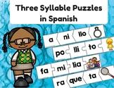 Three Syllable Puzzles in Spanish ( Palabras de tres silabas )