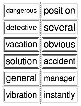 Three Syllable Word Flashcards
