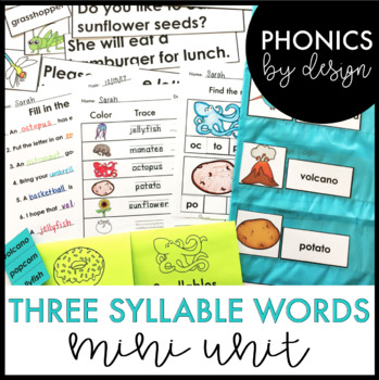 Three Syllable Word Work Printables
