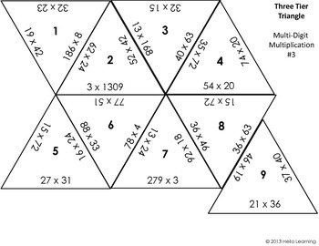 Three Tier Triangle Math Puzzle- Multi-Digit Multiplication
