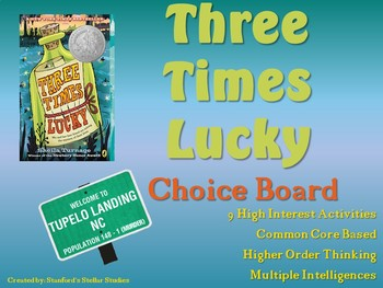 Three times lucky choice board novel study menu book project tic tac toe fandeluxe
