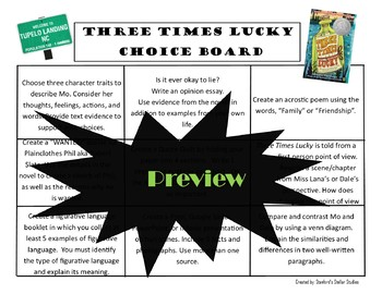 Three Times Lucky Choice Board Novel Study Menu Book Project Tic Tac Toe