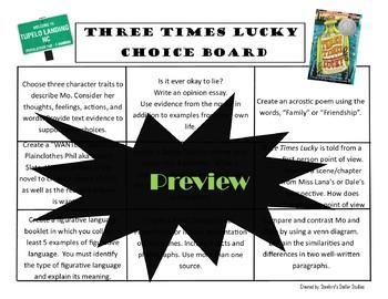 Three Times Lucky Choice Board Novel Study Menu Book Project Tic Tac Toe