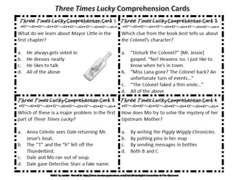Three Times Lucky Comprehension, Writing, and Discussion Task Cards