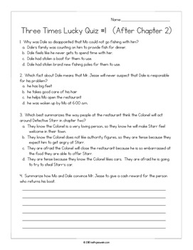 Three Times Lucky by Sheila Turnage:  15 Quizzes