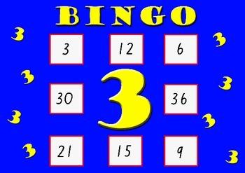 Three Times Table Bingo - Class Set (30)