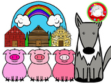 Three Tiny Pigs Fairy Tale Clipart Set (Personal & Commercial Use)