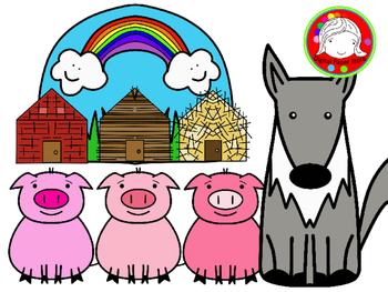 Three Tiny Pigs Fairy Tale Clipart Set (Personal & Commerc