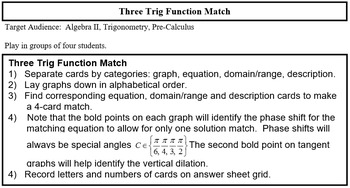 Three Trig Card Match